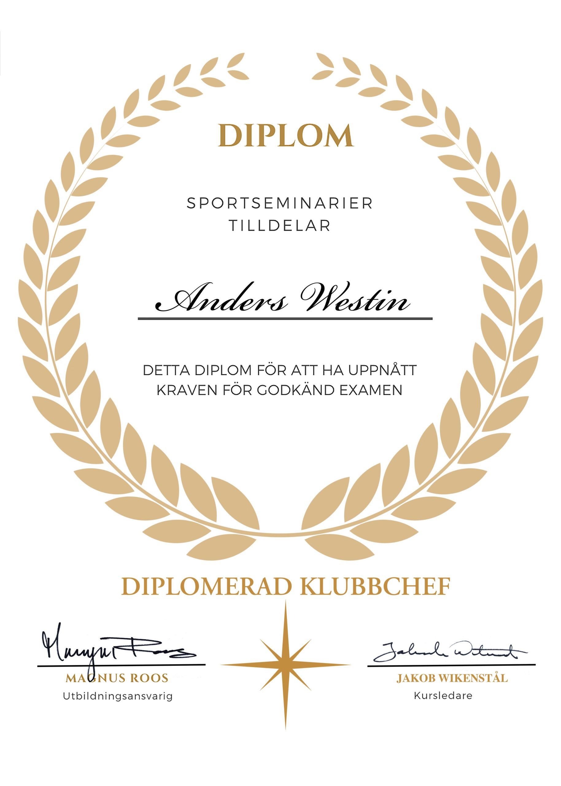 Diplomerad Klubbchef Diplom